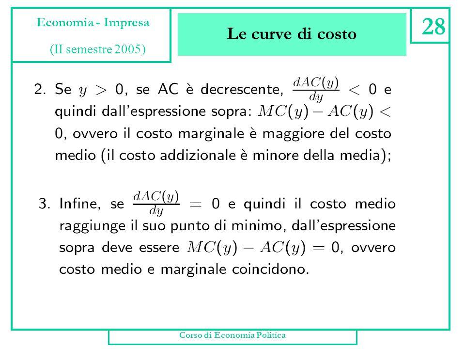 Le curve di costo Corso di Economia Politica 27 Economia - Impresa (II semestre 2005)