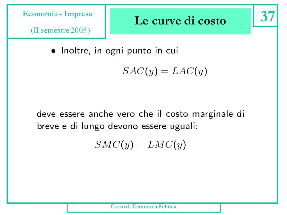 Le curve di costo Corso di Economia Politica 36 Economia - Impresa (II semestre 2005)