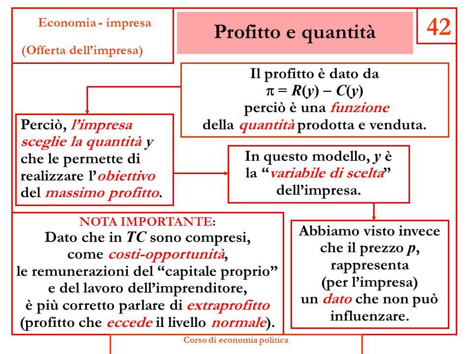 Costo totale e quantità 41 Economia - impresa (Offerta dellimpresa) Anche il costo totale può essere considerato una funzione della quantità prodotta
