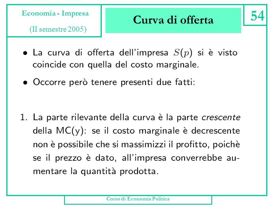 Curva di offerta 53 Economia - impresa (Offerta dellimpresa) Cosa succede alla scelta dellimpresa quando cambia il prezzo p ? Evidentemente cambia la