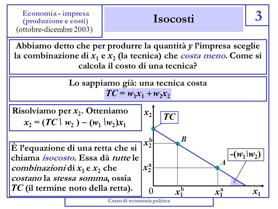 Saggio marginale di sostituzione tecnica 2 Economia - impresa (produzione e costi) (ottobre-dicembre 2003) Come le caratteristiche della curva di indi