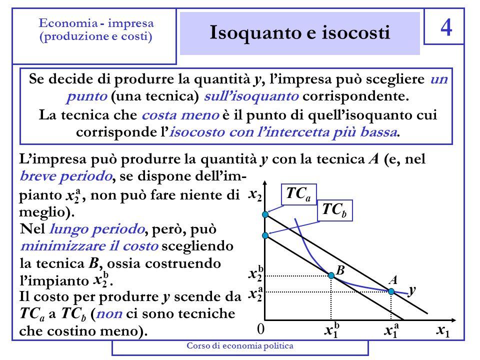 Isocosti 3 Economia - impresa (produzione e costi) (ottobre-dicembre 2003) Abbiamo detto che per produrre la quantità y limpresa sceglie la combinazio
