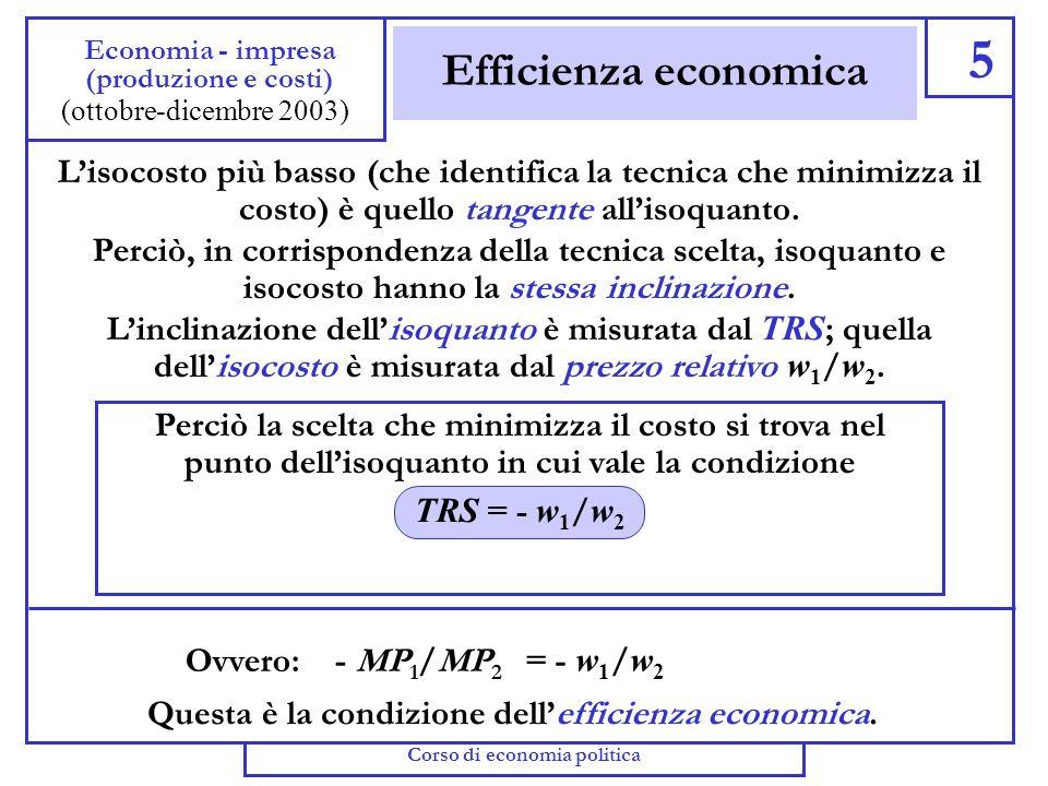 Isoquanto e isocosti 4 Economia - impresa (produzione e costi) Se decide di produrre la quantità y, limpresa può scegliere un punto (una tecnica) sull