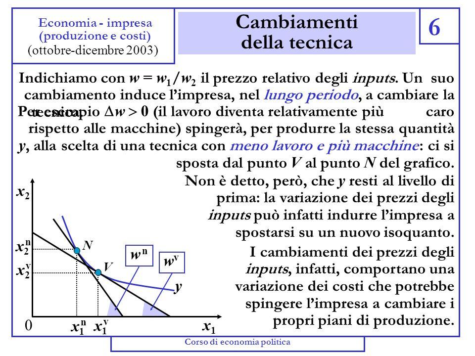 Efficienza economica 5 Economia - impresa (produzione e costi) (ottobre-dicembre 2003) Lisocosto più basso (che identifica la tecnica che minimizza il