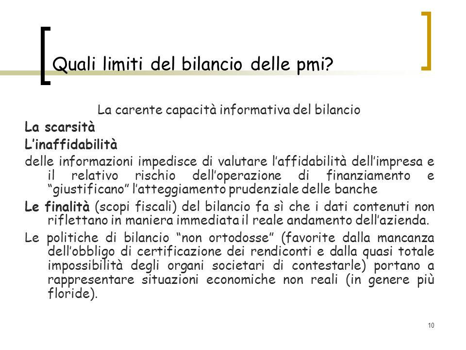 10 Quali limiti del bilancio delle pmi? La carente capacità informativa del bilancio La scarsità Linaffidabilità delle informazioni impedisce di valut