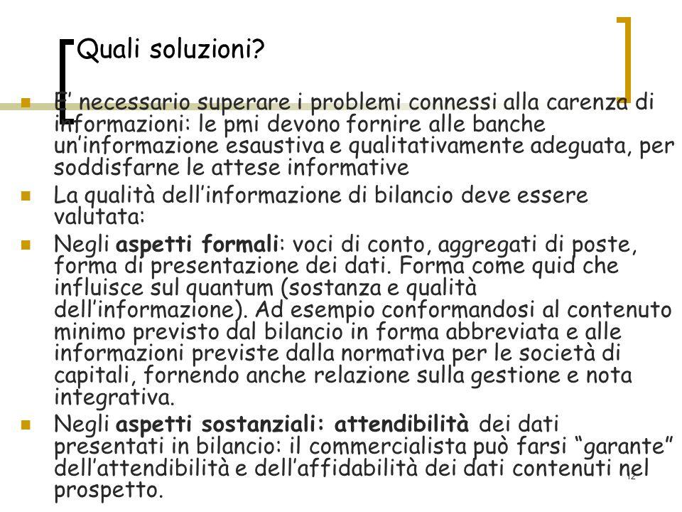 12 Quali soluzioni? E necessario superare i problemi connessi alla carenza di informazioni: le pmi devono fornire alle banche uninformazione esaustiva