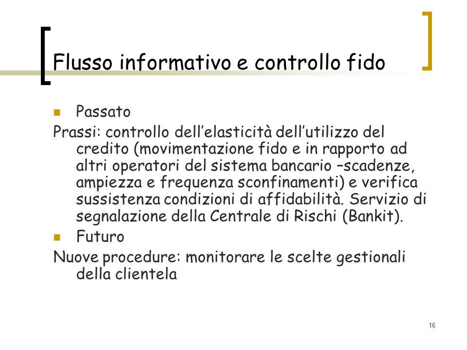 16 Flusso informativo e controllo fido Passato Prassi: controllo dellelasticità dellutilizzo del credito (movimentazione fido e in rapporto ad altri o
