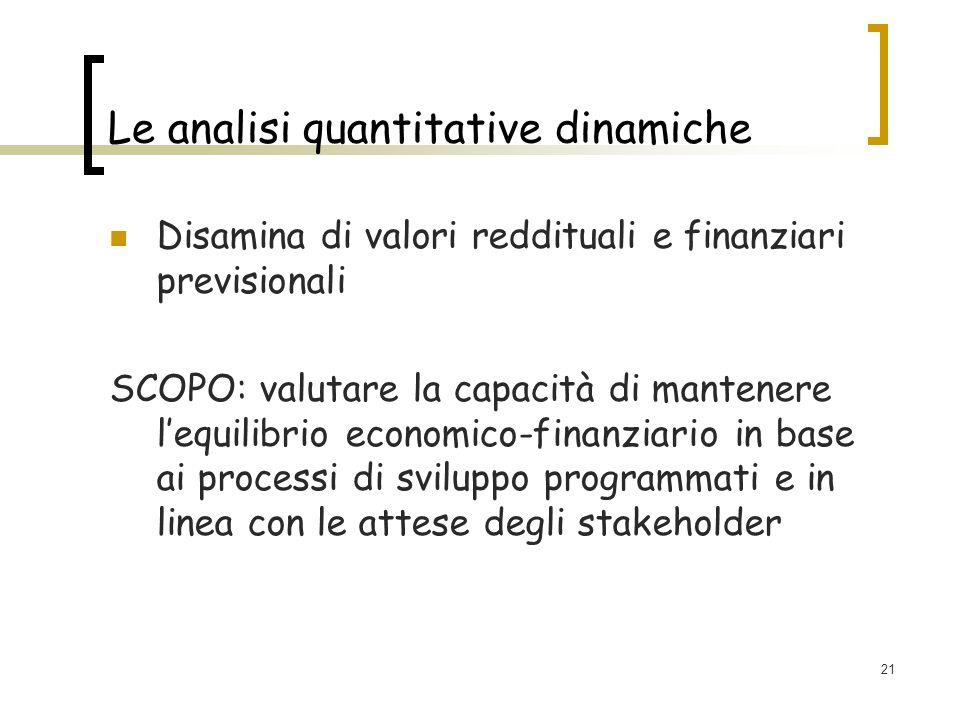 21 Le analisi quantitative dinamiche Disamina di valori reddituali e finanziari previsionali SCOPO: valutare la capacità di mantenere lequilibrio economico-finanziario in base ai processi di sviluppo programmati e in linea con le attese degli stakeholder