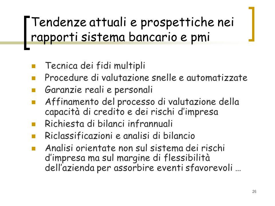 26 Tendenze attuali e prospettiche nei rapporti sistema bancario e pmi Tecnica dei fidi multipli Procedure di valutazione snelle e automatizzate Garan