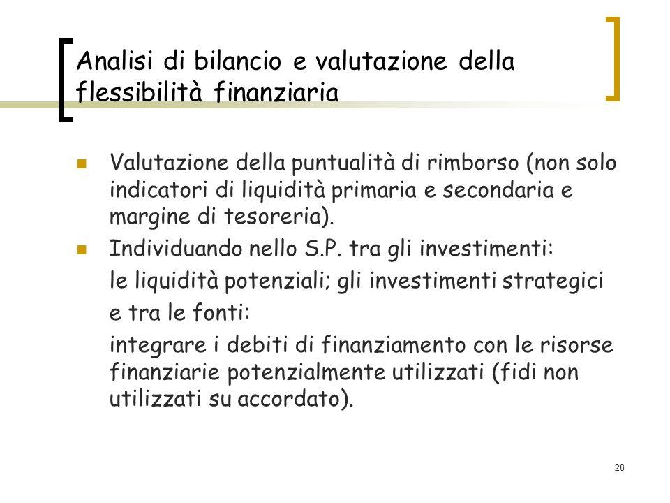 28 Analisi di bilancio e valutazione della flessibilità finanziaria Valutazione della puntualità di rimborso (non solo indicatori di liquidità primaria e secondaria e margine di tesoreria).