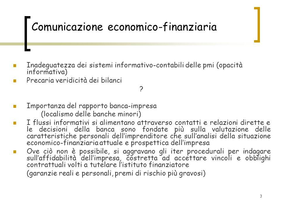 3 Comunicazione economico-finanziaria Inadeguatezza dei sistemi informativo-contabili delle pmi (opacità informativa) Precaria veridicità dei bilanci