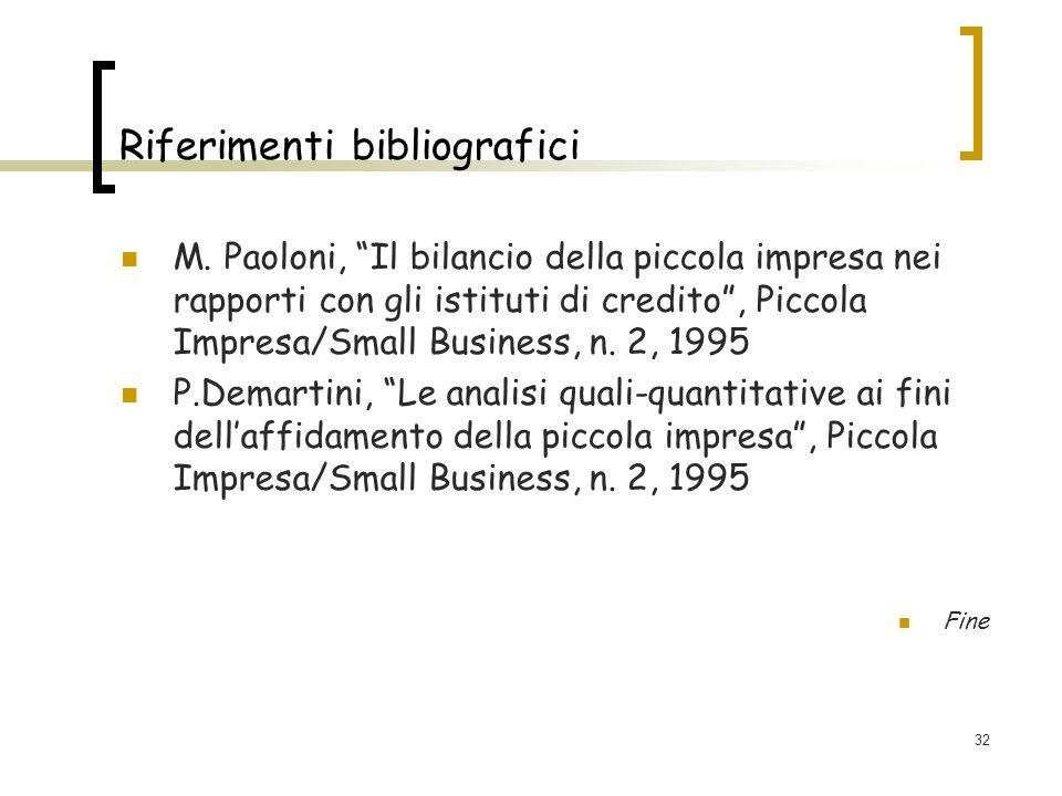 32 Riferimenti bibliografici M. Paoloni, Il bilancio della piccola impresa nei rapporti con gli istituti di credito, Piccola Impresa/Small Business, n