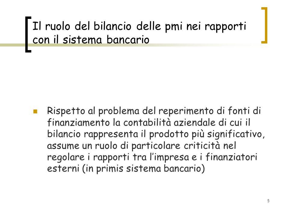 5 Il ruolo del bilancio delle pmi nei rapporti con il sistema bancario Rispetto al problema del reperimento di fonti di finanziamento la contabilità a
