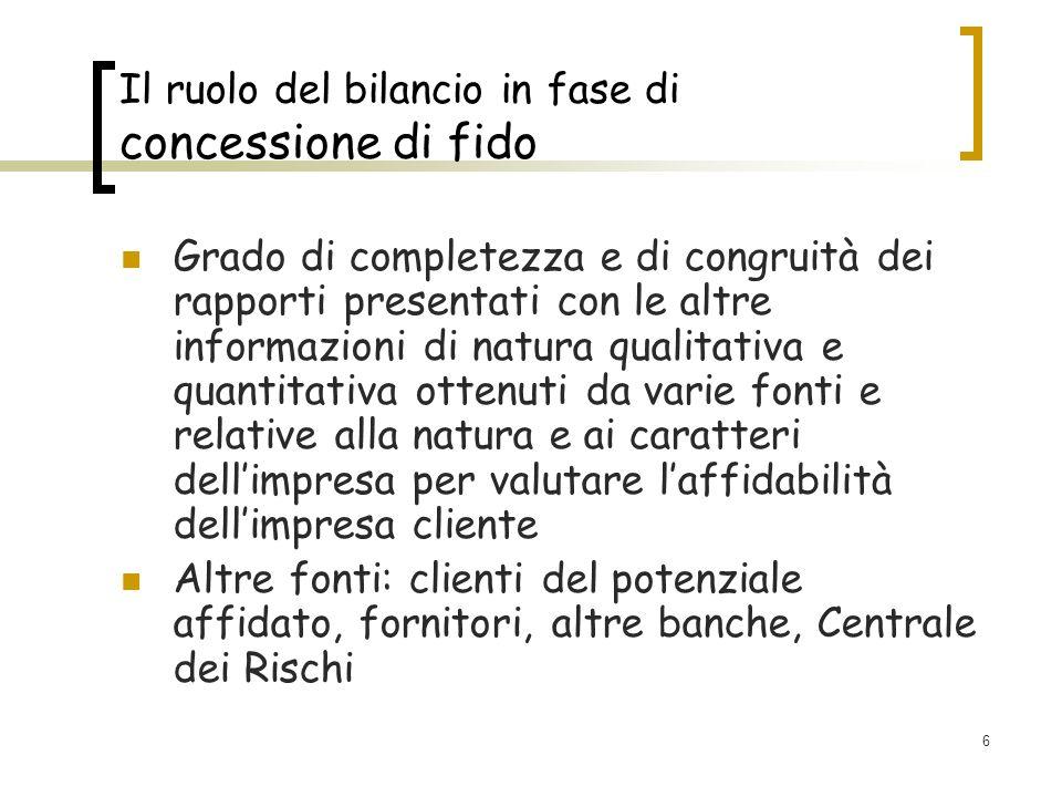 6 Il ruolo del bilancio in fase di concessione di fido Grado di completezza e di congruità dei rapporti presentati con le altre informazioni di natura