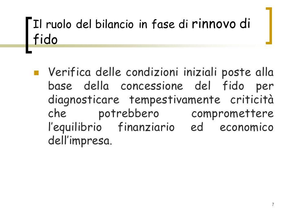 7 Il ruolo del bilancio in fase di rinnovo di fido Verifica delle condizioni iniziali poste alla base della concessione del fido per diagnosticare tem