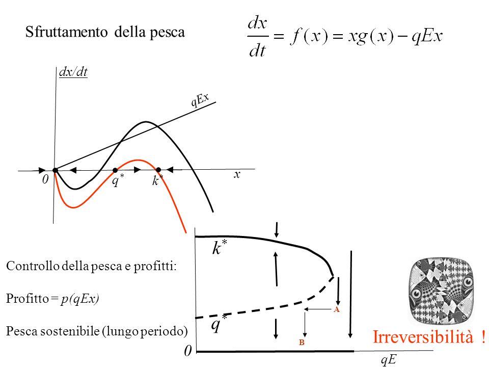 Consumatori snob Tipico esempio di bistabilità: due equilibri stabili con uno instabile intermedio che fa da spartiacque (separatore dei bacini di attrazione) E cruciale il prezzo di partenza Dinamica del prezzo di un prodotto: dipende da domanda e offerta
