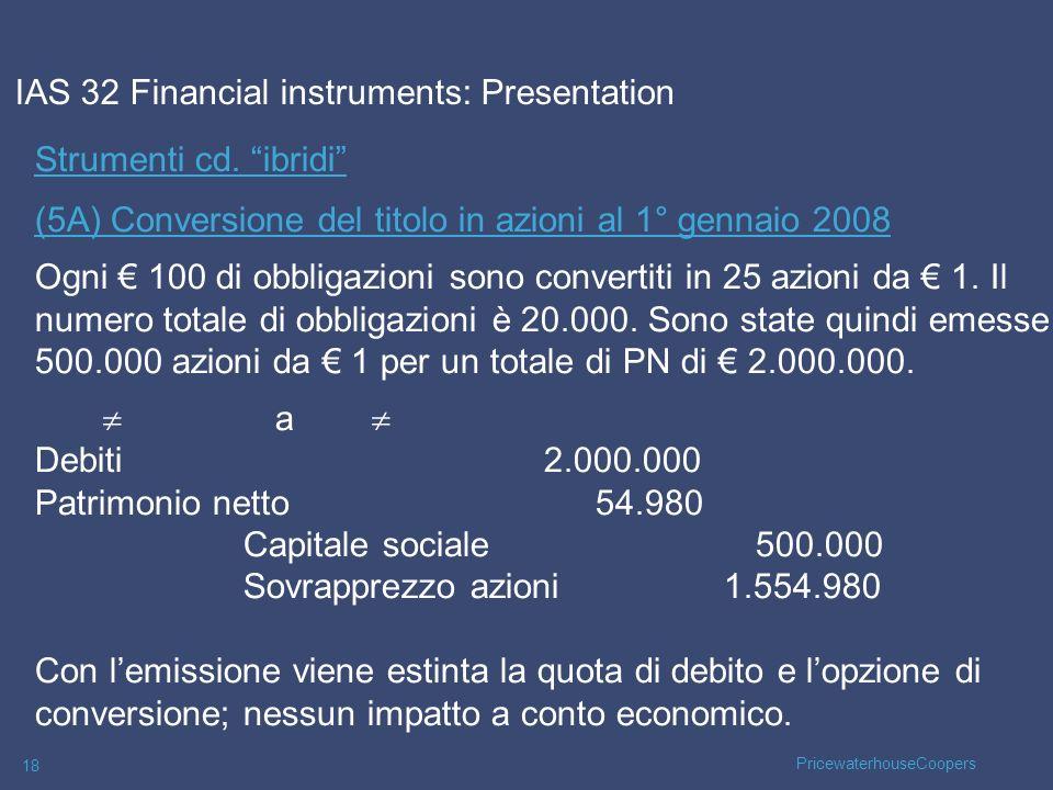 PricewaterhouseCoopers 18 Strumenti cd. ibridi (5A) Conversione del titolo in azioni al 1° gennaio 2008 Ogni 100 di obbligazioni sono convertiti in 25