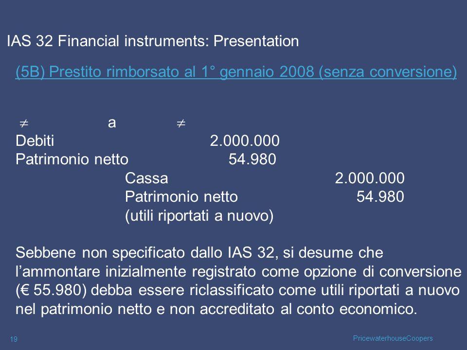 PricewaterhouseCoopers 19 (5B) Prestito rimborsato al 1° gennaio 2008 (senza conversione) a Debiti 2.000.000 Patrimonio netto54.980 Cassa2.000.000 Pat