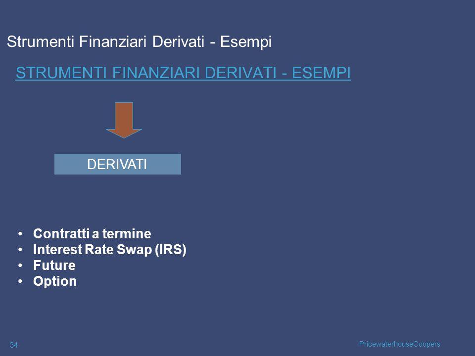 PricewaterhouseCoopers 34 STRUMENTI FINANZIARI DERIVATI - ESEMPI Contratti a termine Interest Rate Swap (IRS) Future Option DERIVATI Strumenti Finanzi