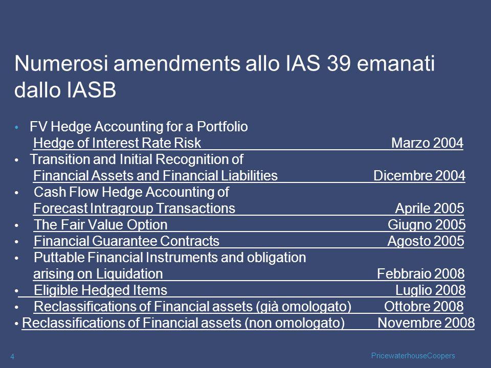 PricewaterhouseCoopers 25 Classificazione FAIR VALUE OPTION (FVO) ammessa ai sensi dellAmendments to IAS 39, Giugno 2005: The Fair Value Option.