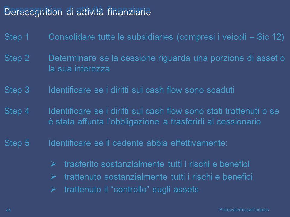 PricewaterhouseCoopers 44 Step 1Consolidare tutte le subsidiaries (compresi i veicoli – Sic 12) Step 2Determinare se la cessione riguarda una porzione