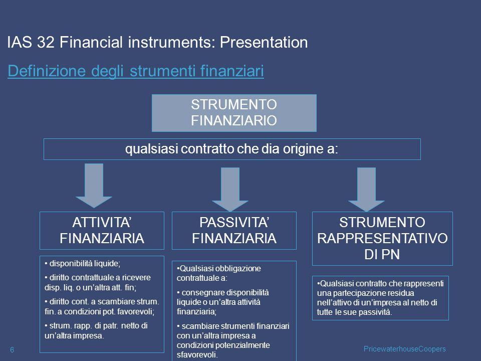 PricewaterhouseCoopers 6 Definizione degli strumenti finanziari IAS 32 Financial instruments: Presentation ATTIVITA FINANZIARIA PASSIVITA FINANZIARIA