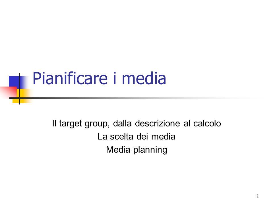 1 Pianificare i media Il target group, dalla descrizione al calcolo La scelta dei media Media planning
