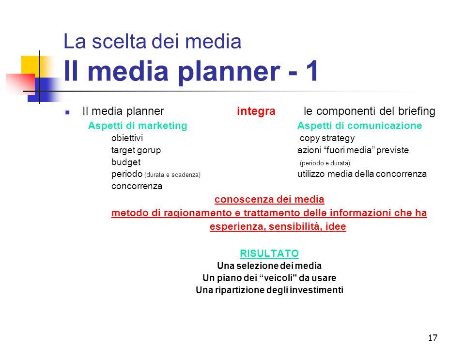 17 La scelta dei media Il media planner - 1 Il media planner integra le componenti del briefing Aspetti di marketing Aspetti di comunicazione obiettiv