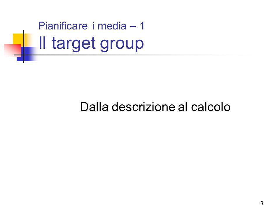 14 Il target group, dalla descrizione al calcolo Descrizione pesata del target group Come risultato delle elaborazioni indicate nei due grafici che precedono, il target group primario del prodotto descritto verbalmente nella diapositiva n.