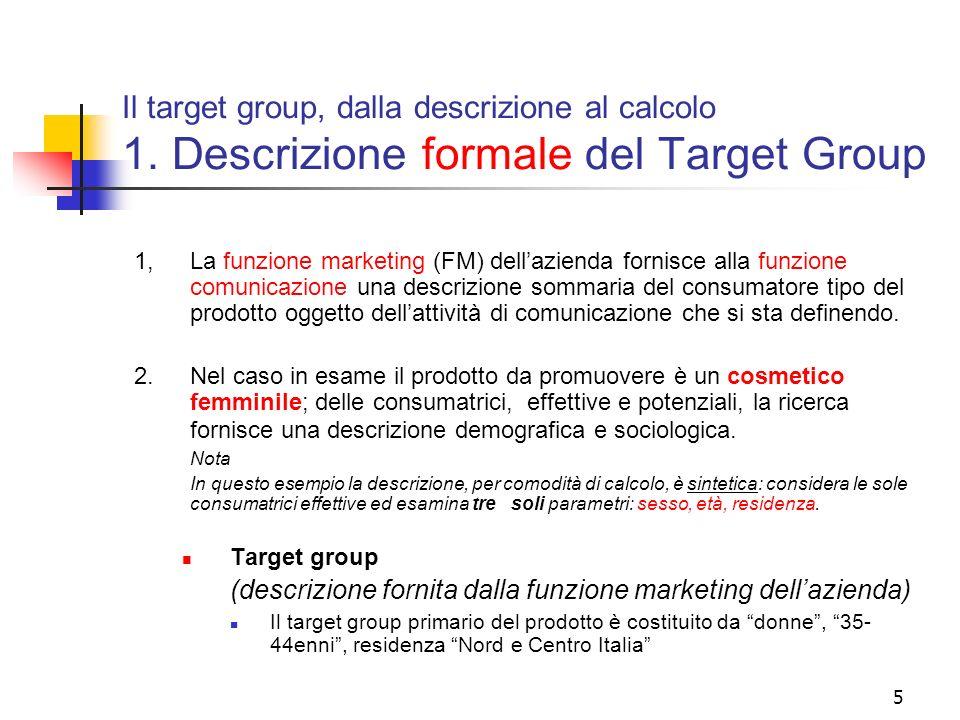 5 Il target group, dalla descrizione al calcolo 1. Descrizione formale del Target Group 1,La funzione marketing (FM) dellazienda fornisce alla funzion