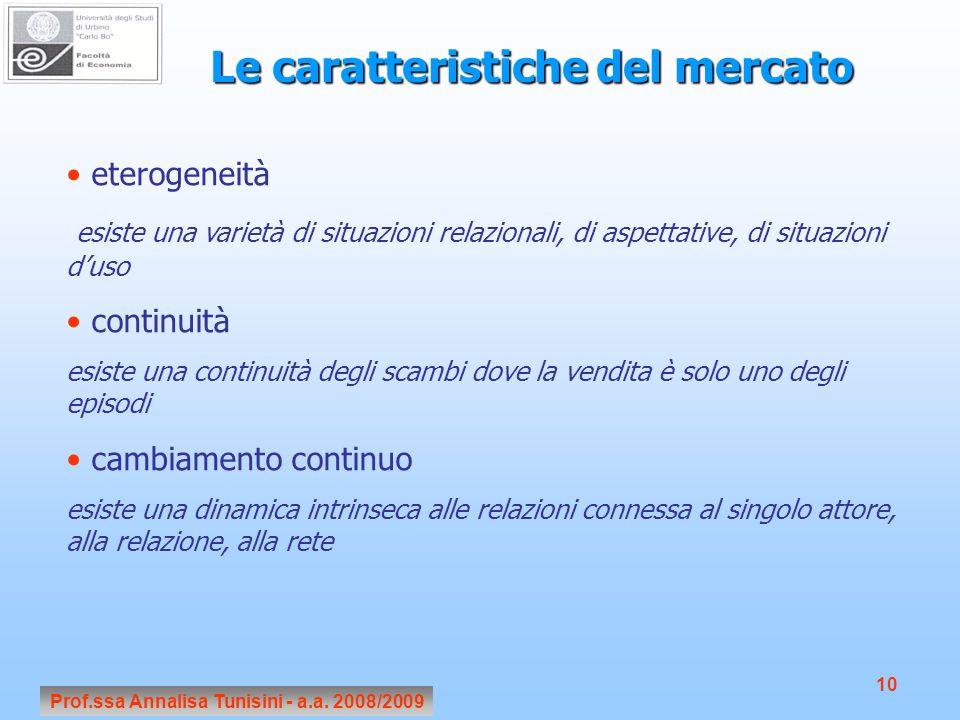Prof.ssa Annalisa Tunisini - a.a. 2008/2009 10 Le caratteristiche del mercato eterogeneità esiste una varietà di situazioni relazionali, di aspettativ