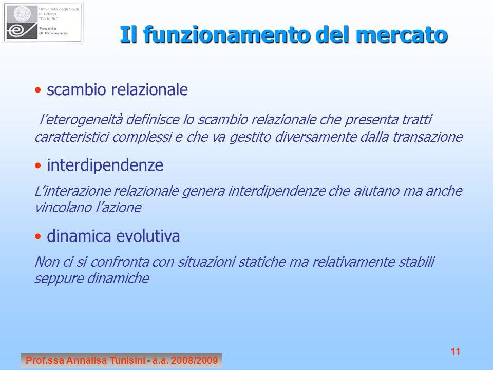 Prof.ssa Annalisa Tunisini - a.a. 2008/2009 11 Il funzionamento del mercato scambio relazionale leterogeneità definisce lo scambio relazionale che pre