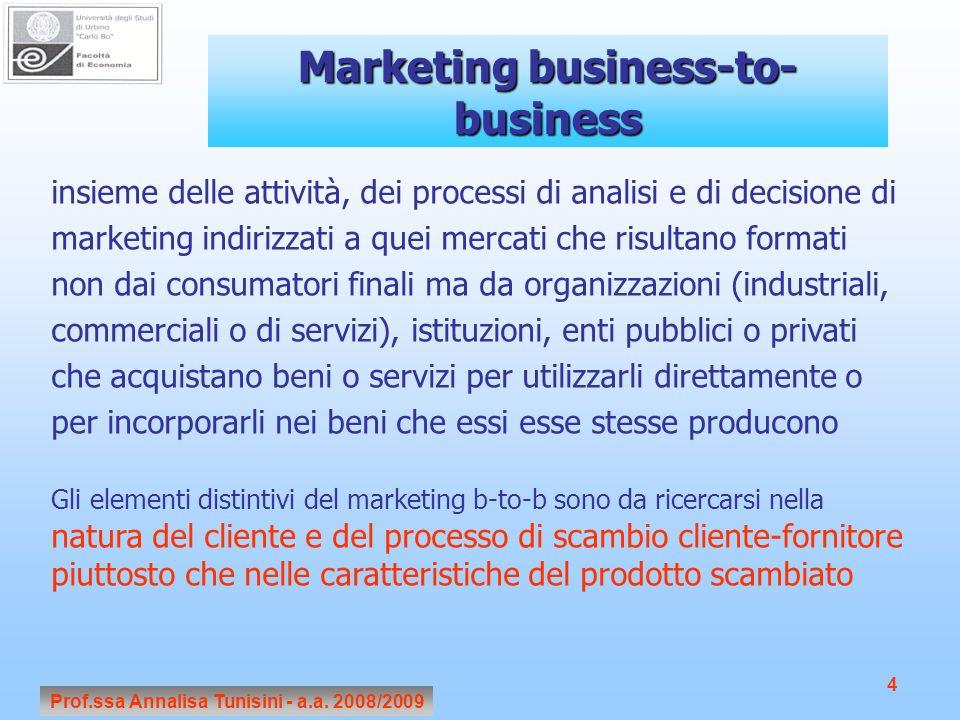 Prof.ssa Annalisa Tunisini - a.a. 2008/2009 4 Marketing business-to- business insieme delle attività, dei processi di analisi e di decisione di market