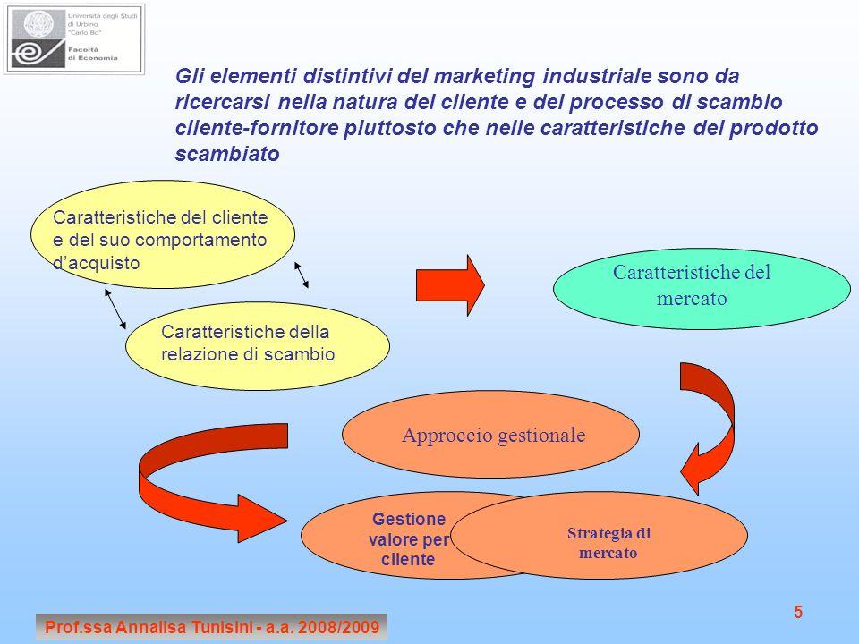 Prof.ssa Annalisa Tunisini - a.a. 2008/2009 5 Gli elementi distintivi del marketing industriale sono da ricercarsi nella natura del cliente e del proc