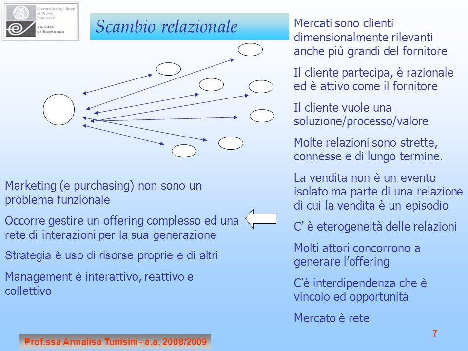 Prof.ssa Annalisa Tunisini - a.a. 2008/2009 7 Scambio relazionale Mercati sono clienti dimensionalmente rilevanti anche più grandi del fornitore Il cl