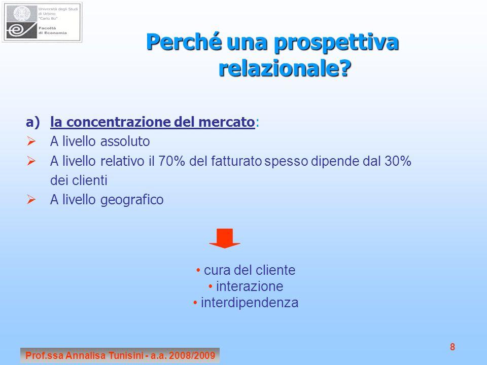 Prof.ssa Annalisa Tunisini - a.a. 2008/2009 8 Perché una prospettiva relazionale? a)la concentrazione del mercato: A livello assoluto A livello relati