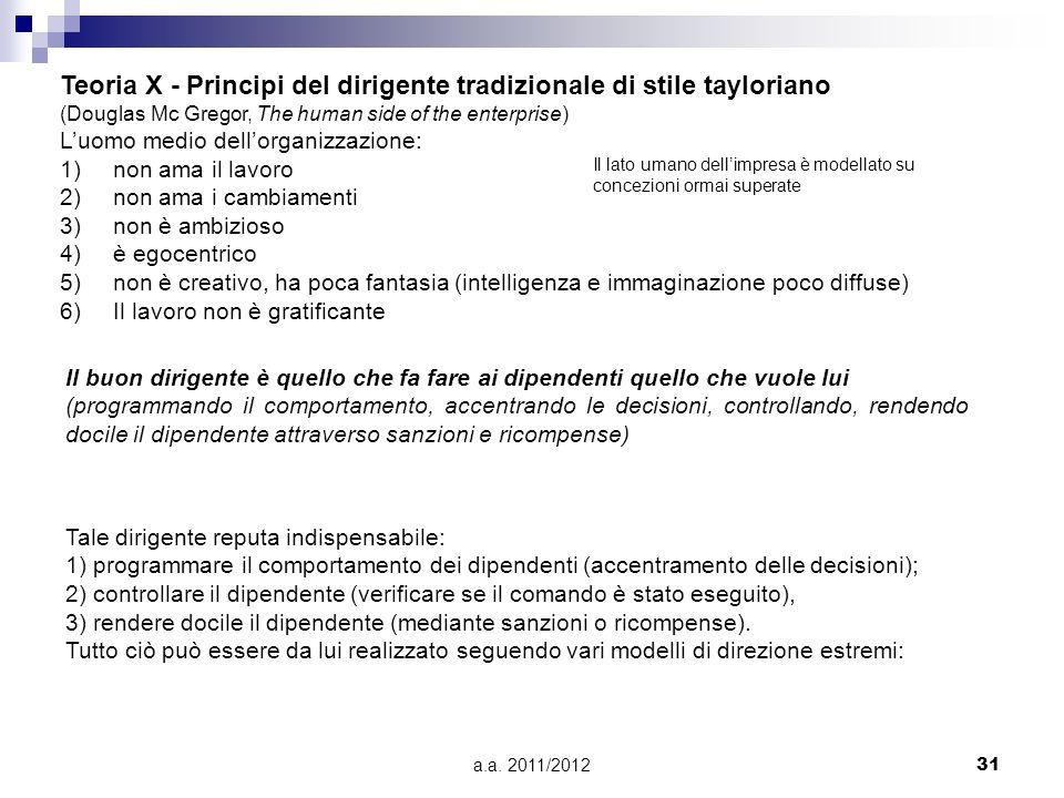 a.a. 2011/201231 Teoria X - Principi del dirigente tradizionale di stile tayloriano (Douglas Mc Gregor, The human side of the enterprise) Luomo medio