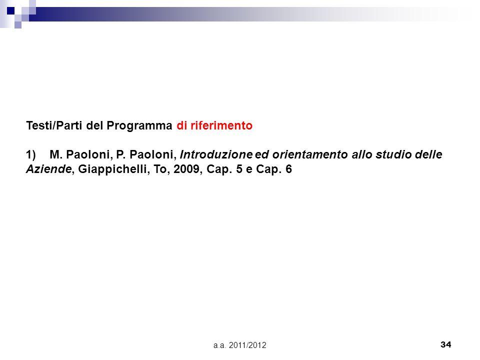 a.a. 2011/201234 Testi/Parti del Programma di riferimento 1)M. Paoloni, P. Paoloni, Introduzione ed orientamento allo studio delle Aziende, Giappichel