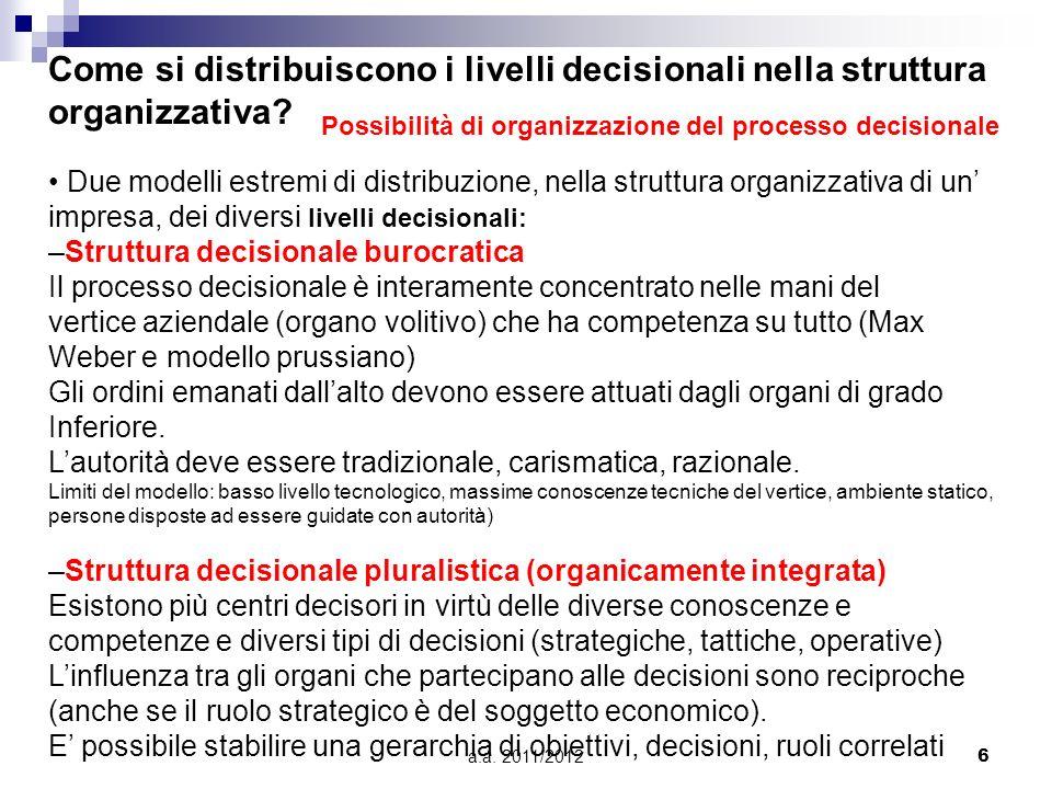 a.a. 2011/20126 Come si distribuiscono i livelli decisionali nella struttura organizzativa? Due modelli estremi di distribuzione, nella struttura orga