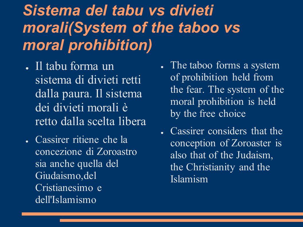 Sistema del tabu vs divieti morali(System of the taboo vs moral prohibition) Il tabu forma un sistema di divieti retti dalla paura. Il sistema dei div