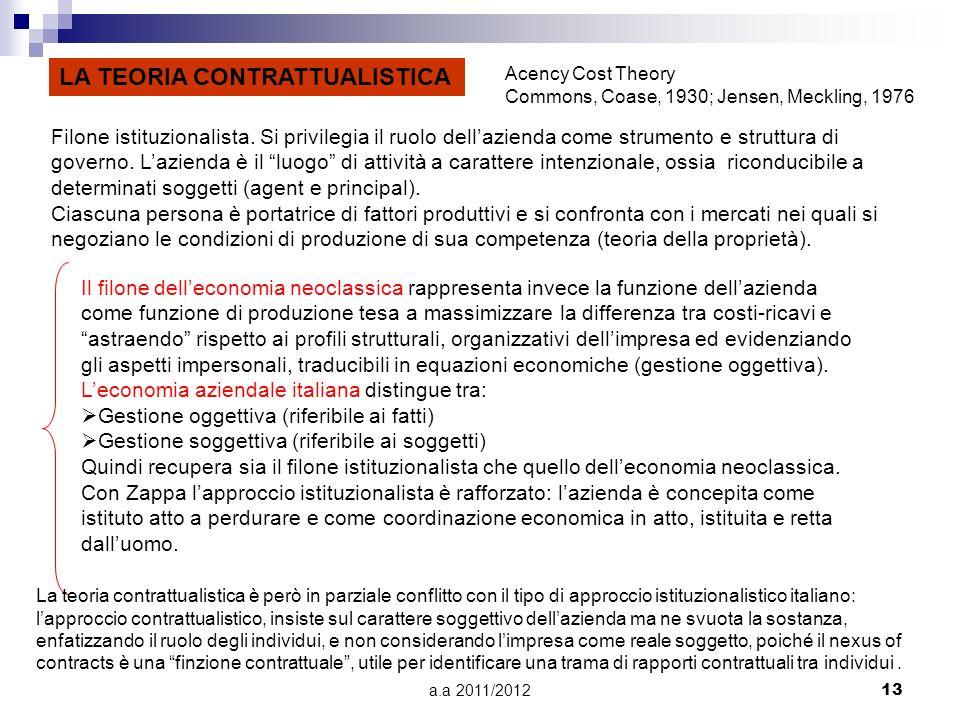 a.a 2011/201213 LA TEORIA CONTRATTUALISTICA Filone istituzionalista.