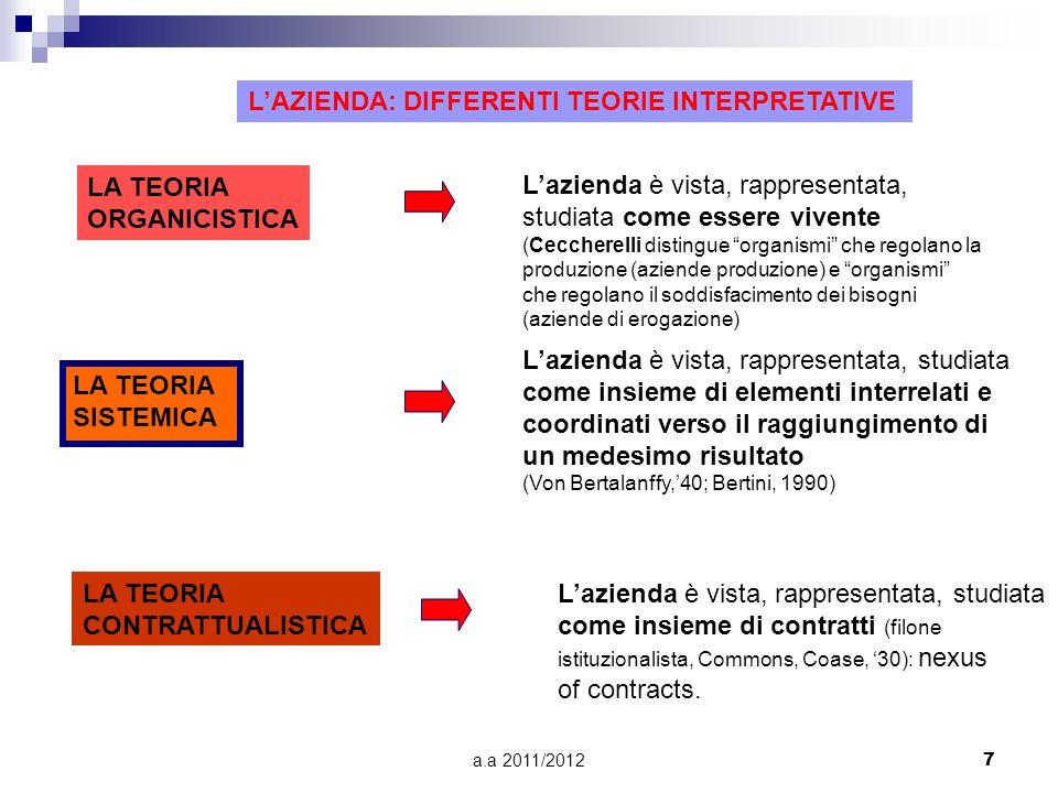 a.a 2011/20127 LAZIENDA: DIFFERENTI TEORIE INTERPRETATIVE LA TEORIA ORGANICISTICA LA TEORIA SISTEMICA LA TEORIA CONTRATTUALISTICA Lazienda è vista, rappresentata, studiata come essere vivente (Ceccherelli distingue organismi che regolano la produzione (aziende produzione) e organismi che regolano il soddisfacimento dei bisogni (aziende di erogazione) Lazienda è vista, rappresentata, studiata come insieme di elementi interrelati e coordinati verso il raggiungimento di un medesimo risultato (Von Bertalanffy,40; Bertini, 1990) Lazienda è vista, rappresentata, studiata come insieme di contratti (filone istituzionalista, Commons, Coase, 30): nexus of contracts.
