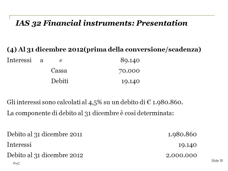 PwC (4) Al 31 dicembre 2012(prima della conversione/scadenza) Interessia 89.140 Cassa70.000 Debiti19.140 Gli interessi sono calcolati al 4,5% su un de