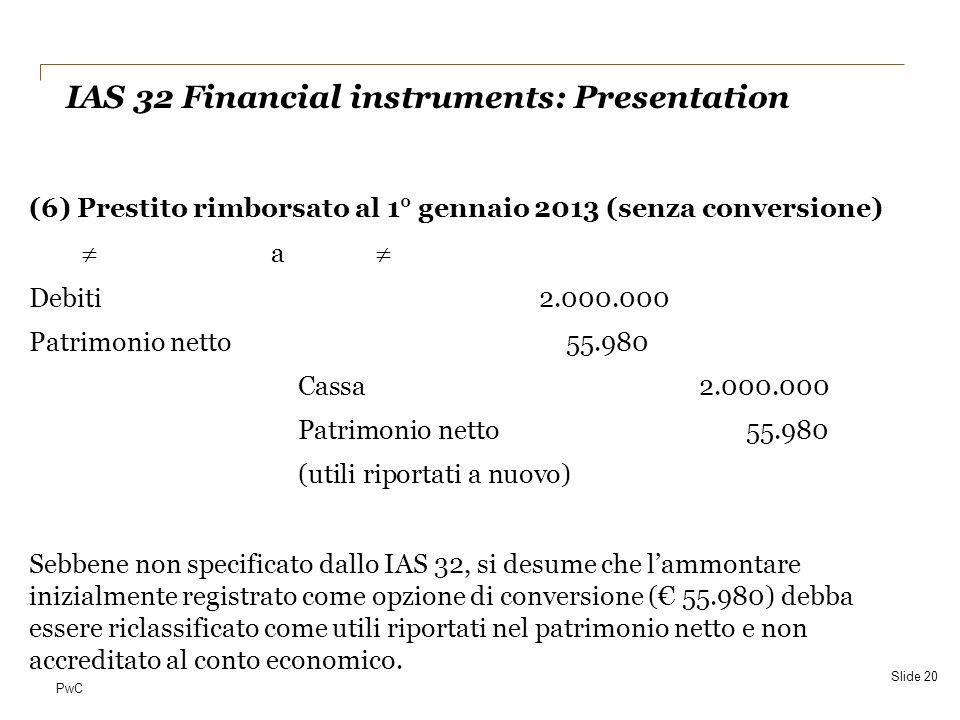 PwC (6) Prestito rimborsato al 1° gennaio 2013 (senza conversione) a Debiti2.000.000 Patrimonio netto55.980 Cassa2.000.000 Patrimonio netto55.980 (uti
