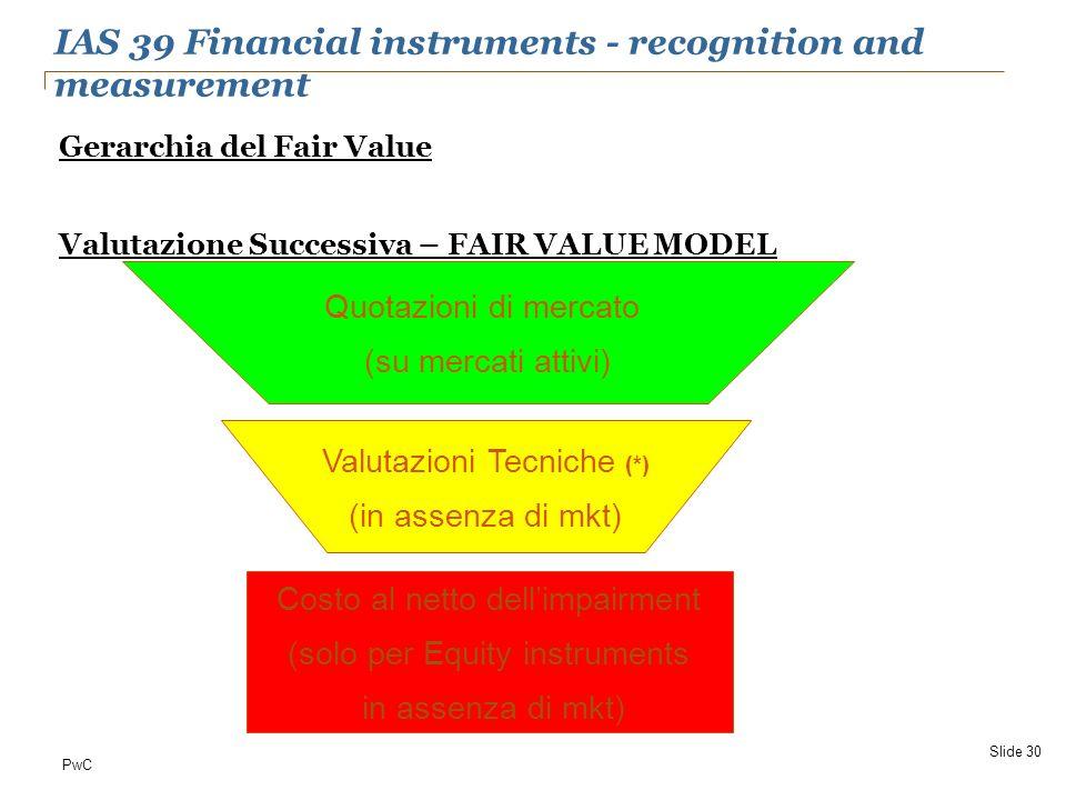 PwC Gerarchia del Fair Value Valutazione Successiva – FAIR VALUE MODEL Slide 30 Quotazioni di mercato (su mercati attivi) Valutazioni Tecniche (*) (in