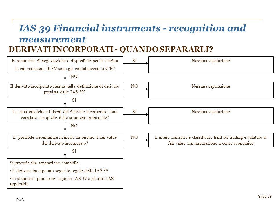 PwC IAS 39 Financial instruments - recognition and measurement Slide 39 DERIVATI INCORPORATI - QUANDO SEPARARLI? E strumento di negoziazione o disponi
