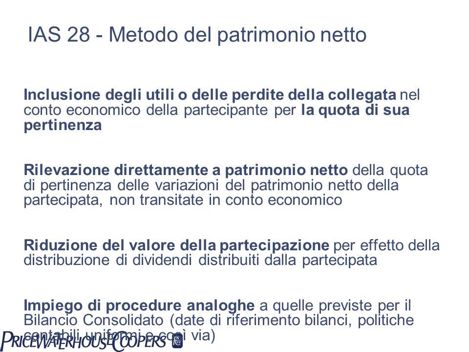 IAS 28 - Metodo del patrimonio netto Inclusione degli utili o delle perdite della collegata nel conto economico della partecipante per la quota di sua