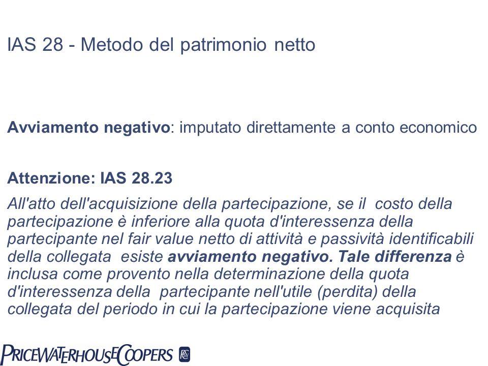 Avviamento negativo: imputato direttamente a conto economico Attenzione: IAS 28.23 All'atto dell'acquisizione della partecipazione, se il costo della