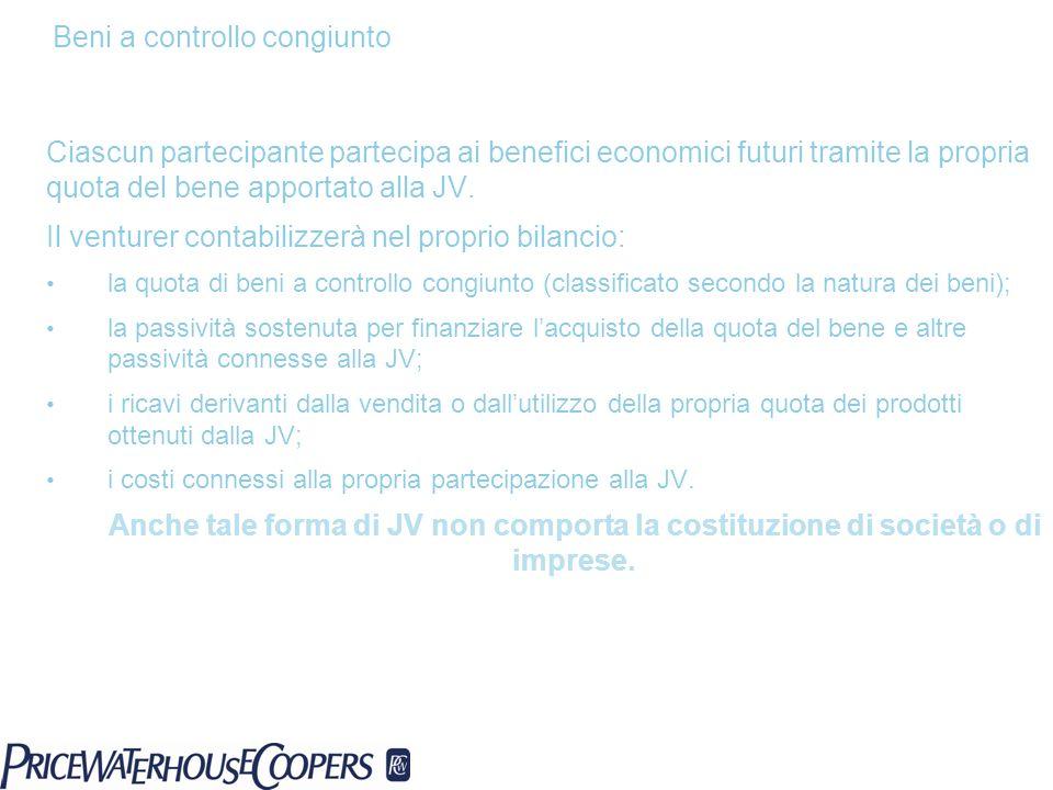Ciascun partecipante partecipa ai benefici economici futuri tramite la propria quota del bene apportato alla JV. Il venturer contabilizzerà nel propri