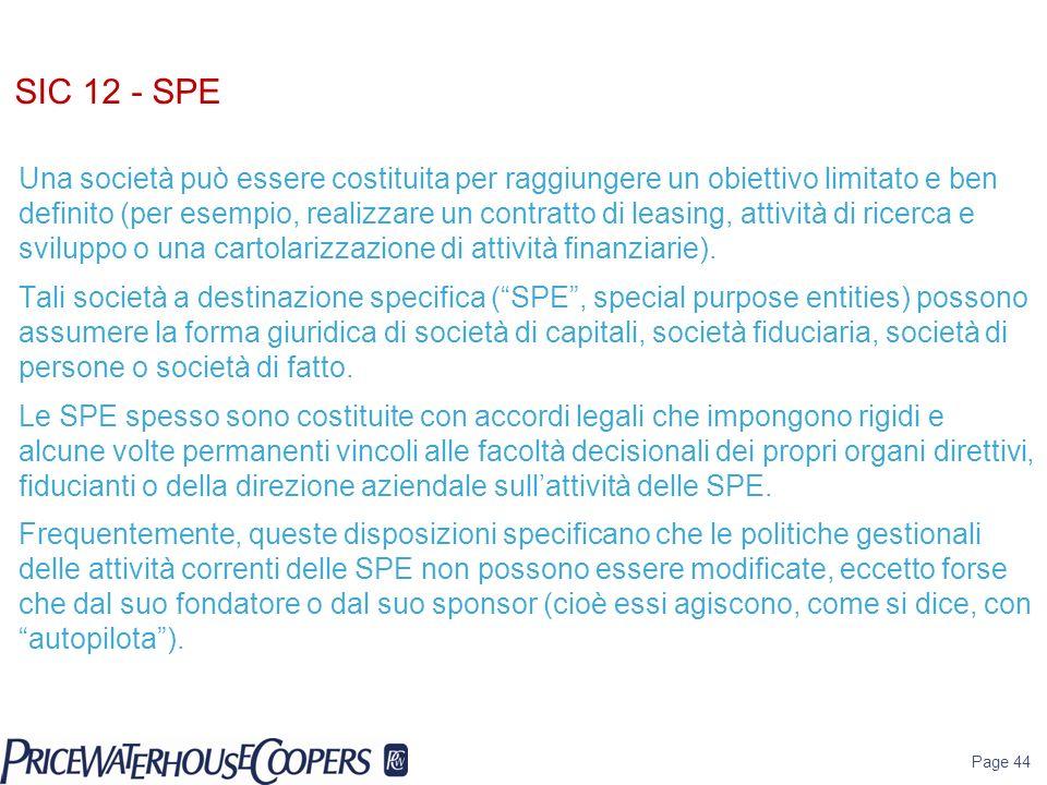 SIC 12 - SPE Una società può essere costituita per raggiungere un obiettivo limitato e ben definito (per esempio, realizzare un contratto di leasing,